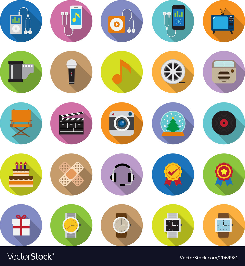 Flat icons collection with long shadow vector