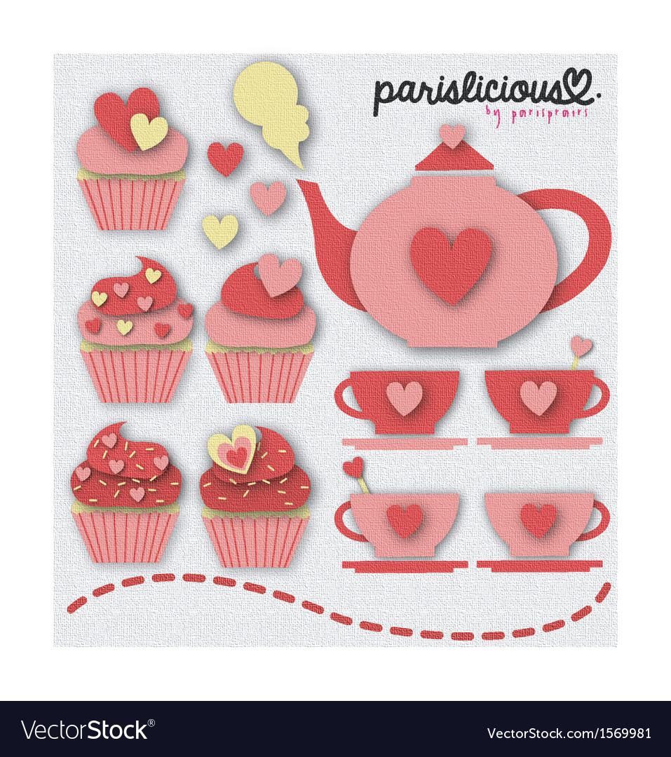 Pinky tea set vector