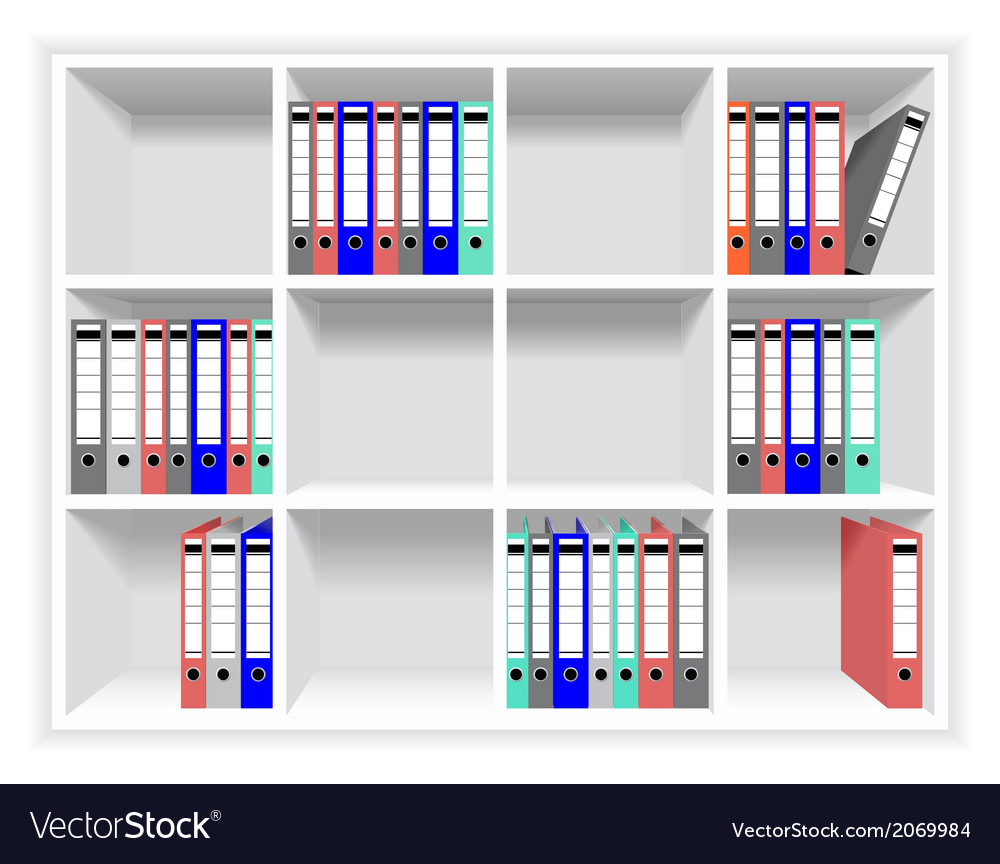 Rows of folders on the shelves vector