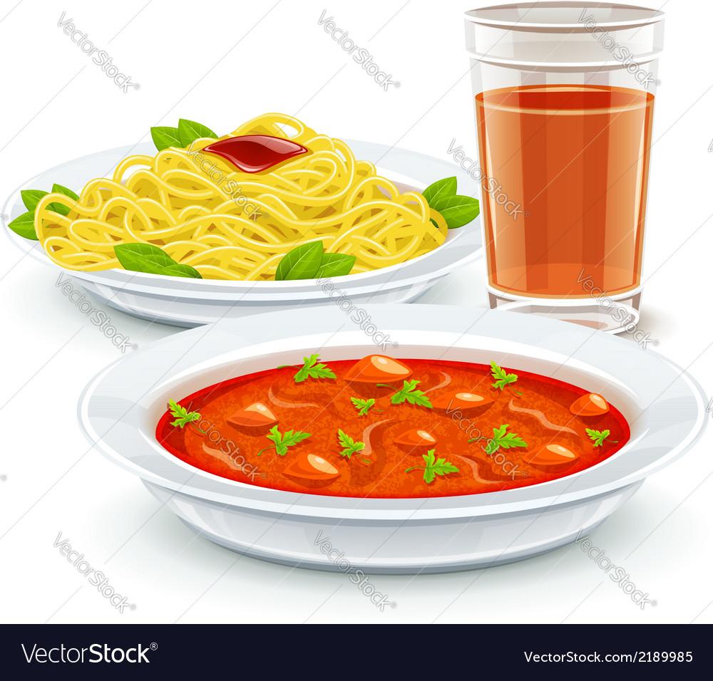 Set meal menu with soup pasta vector