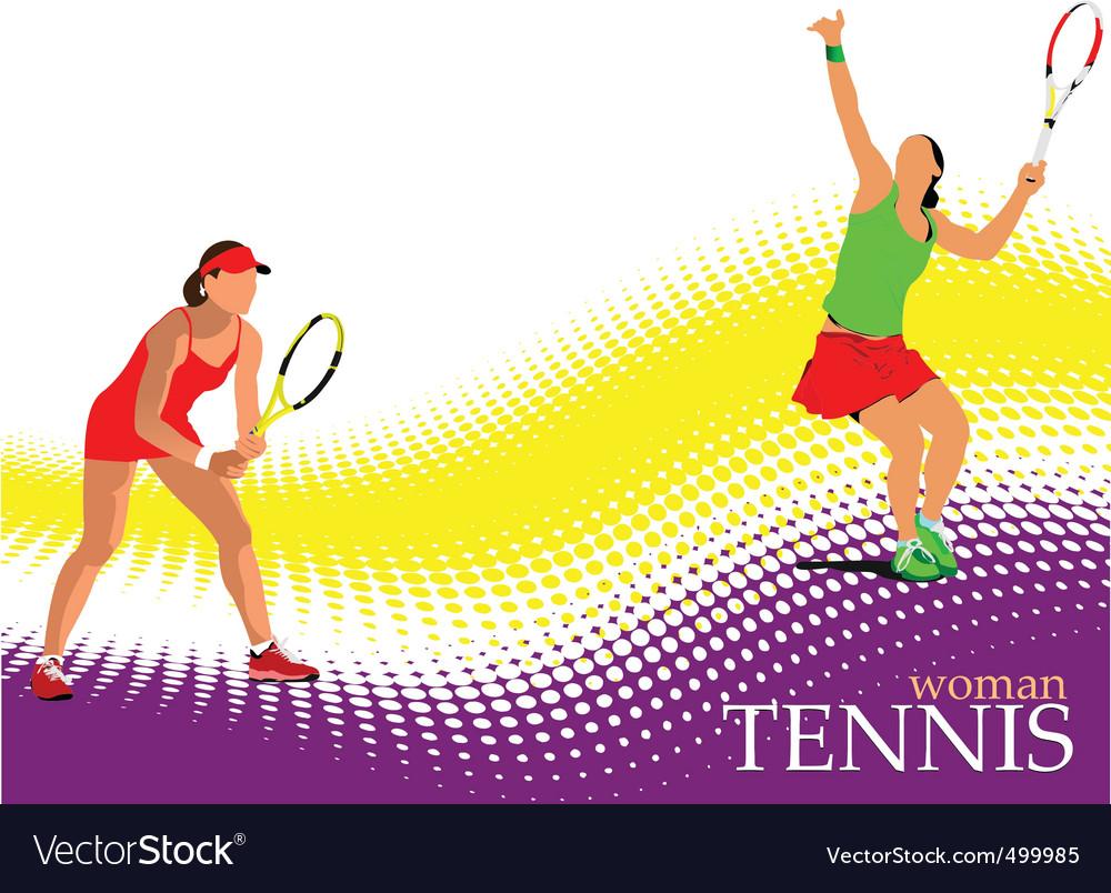 Woman tennis poster vector