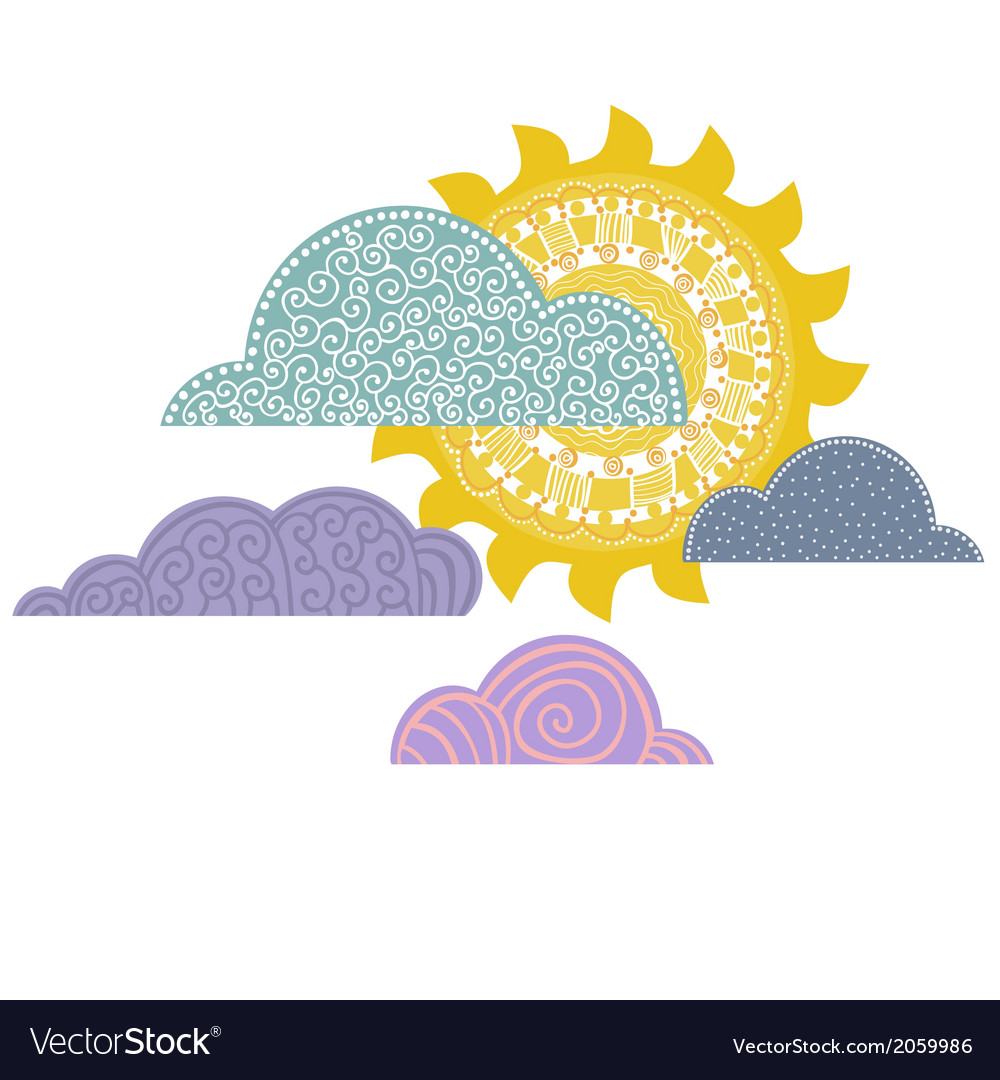 Overcast day background cloudy with sun vector
