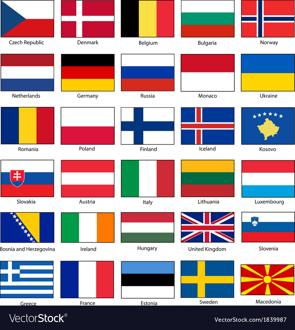 Flags of europe set vector