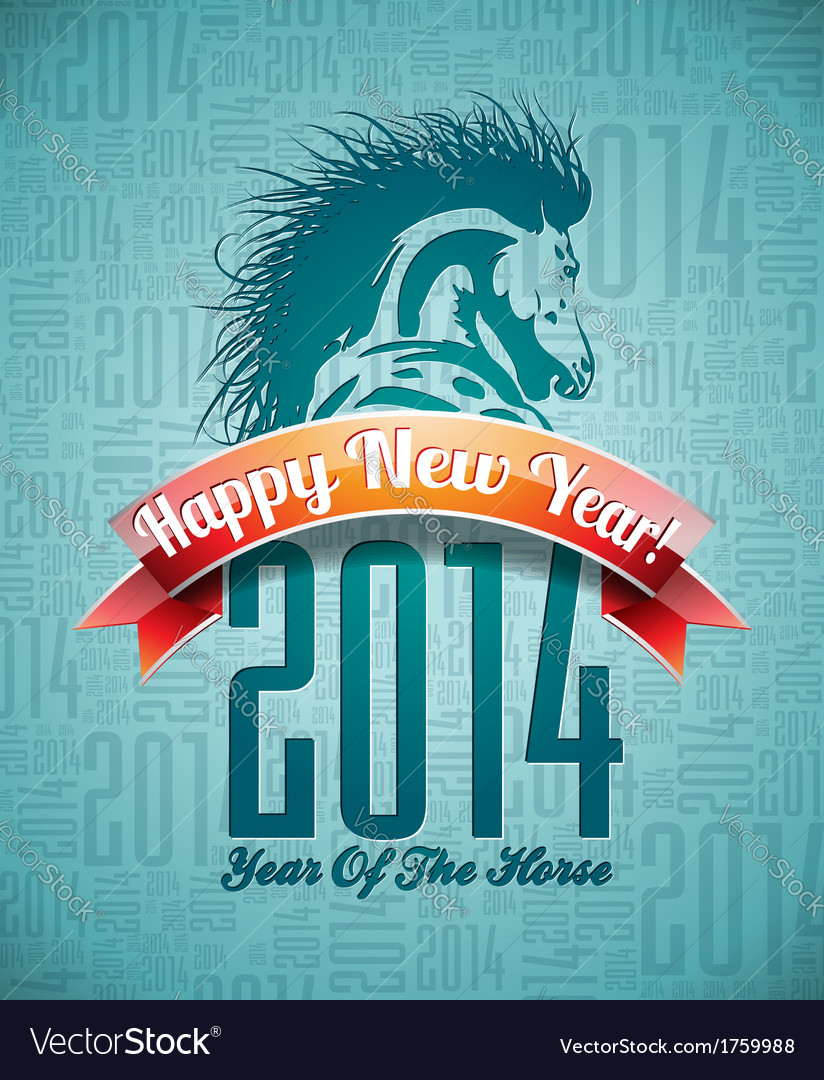 Happy new year 2014 design with horse vector