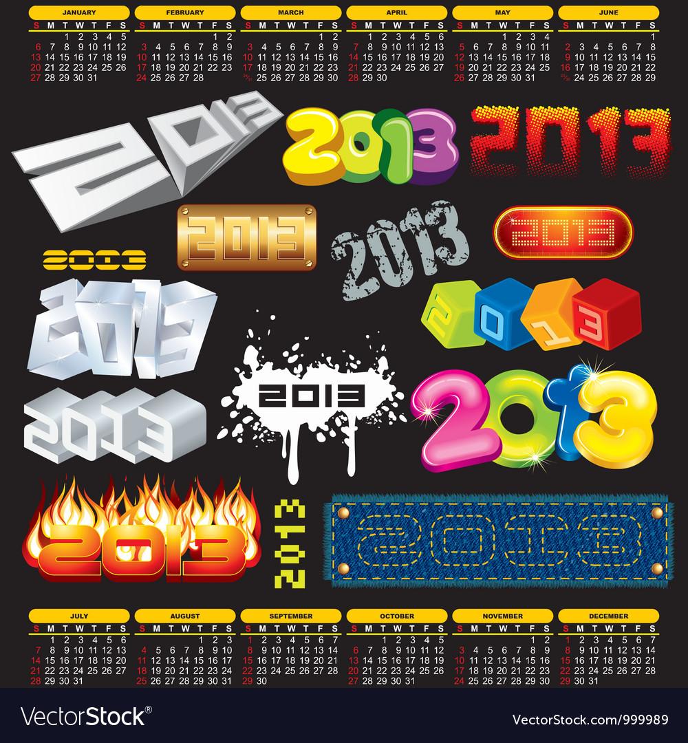 2013 year 3d titles logos labels vector