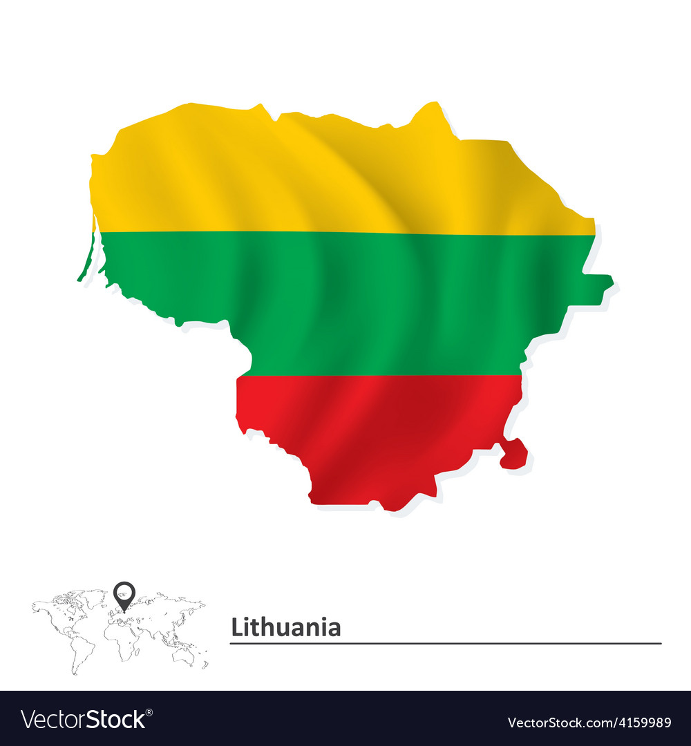 Map of lithuania with flag vector