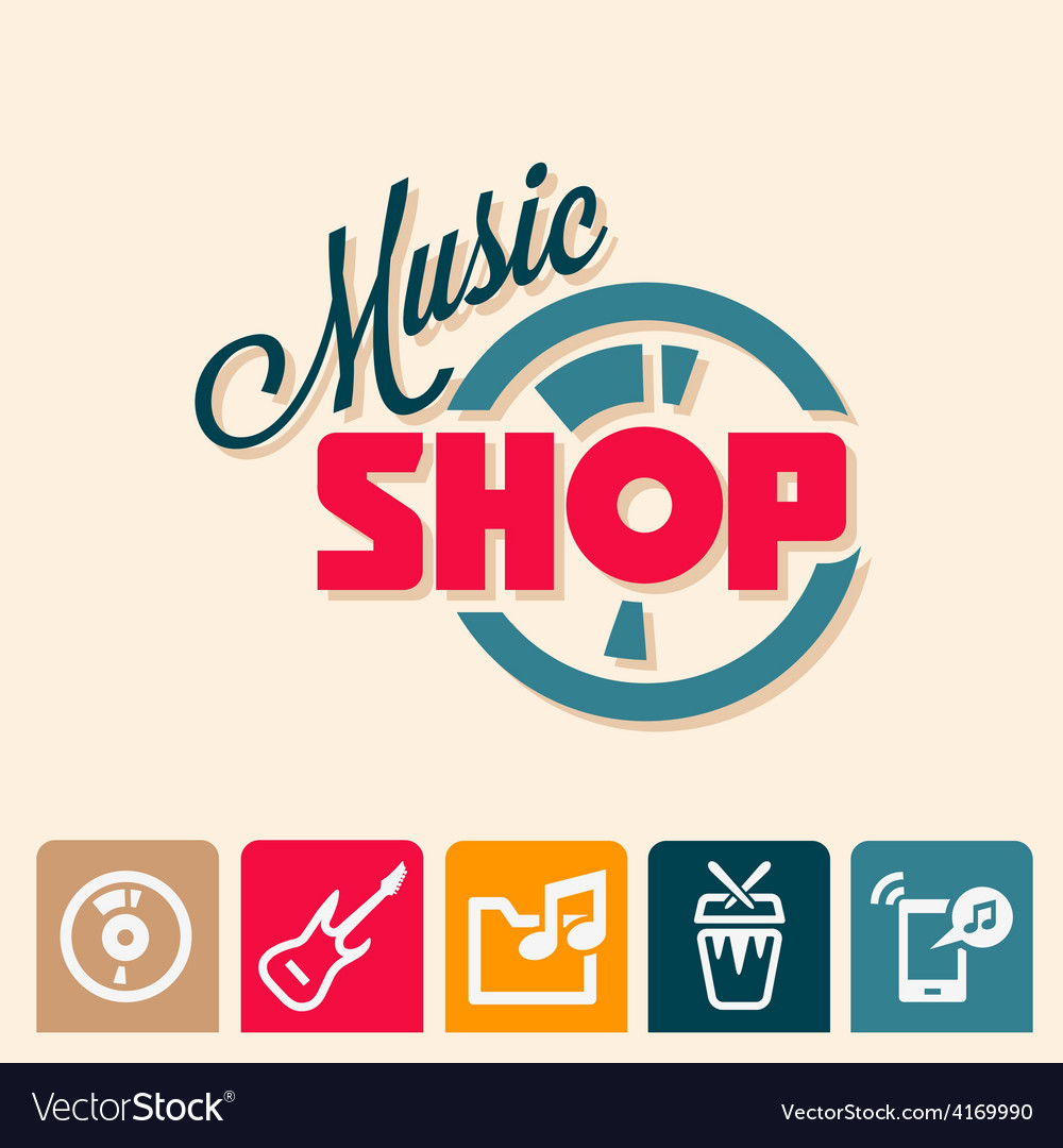 Music shop logo vector