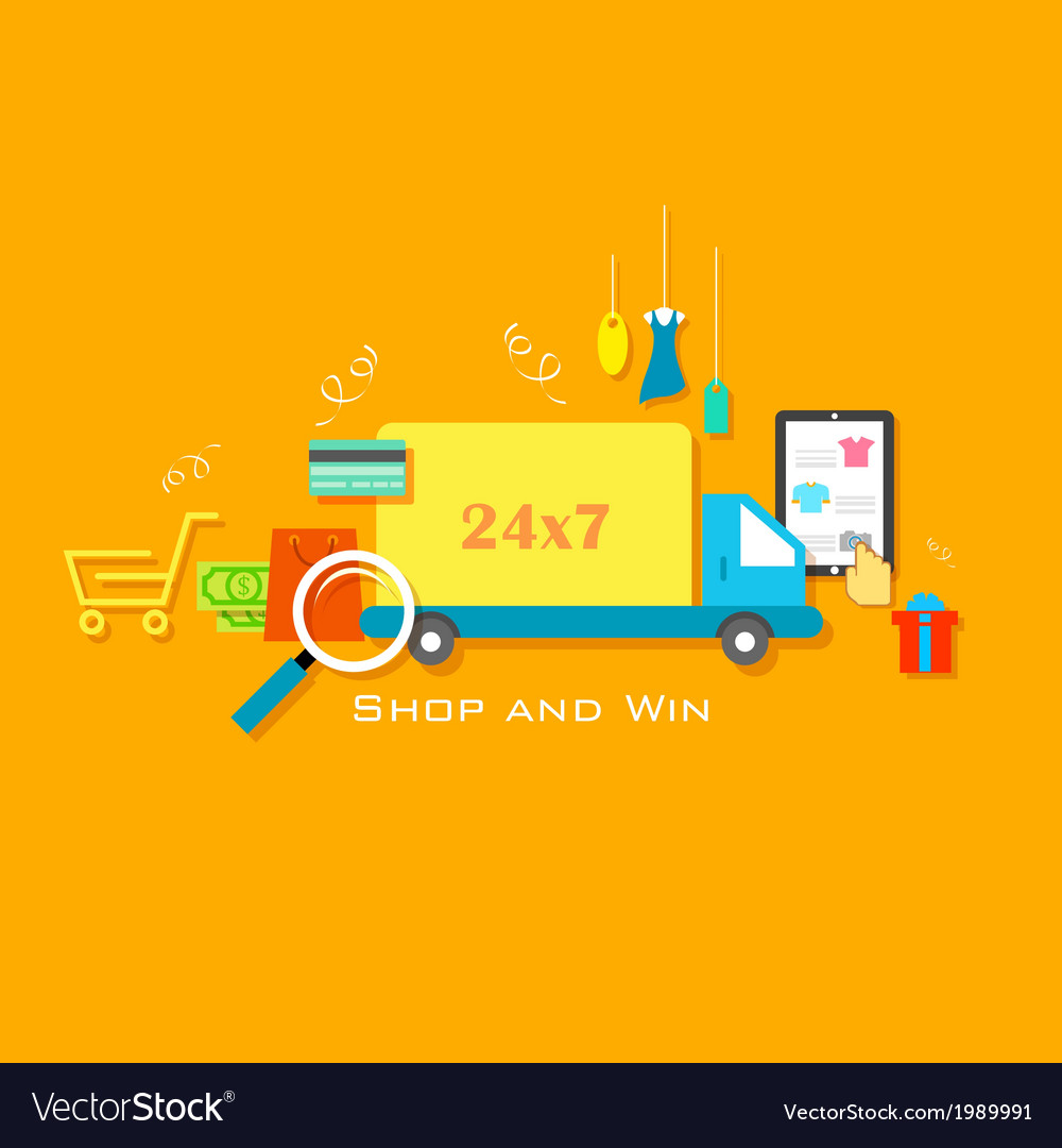 Shop and win vector