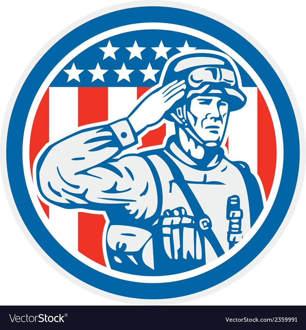 Soldier military serviceman salute circle retro vector