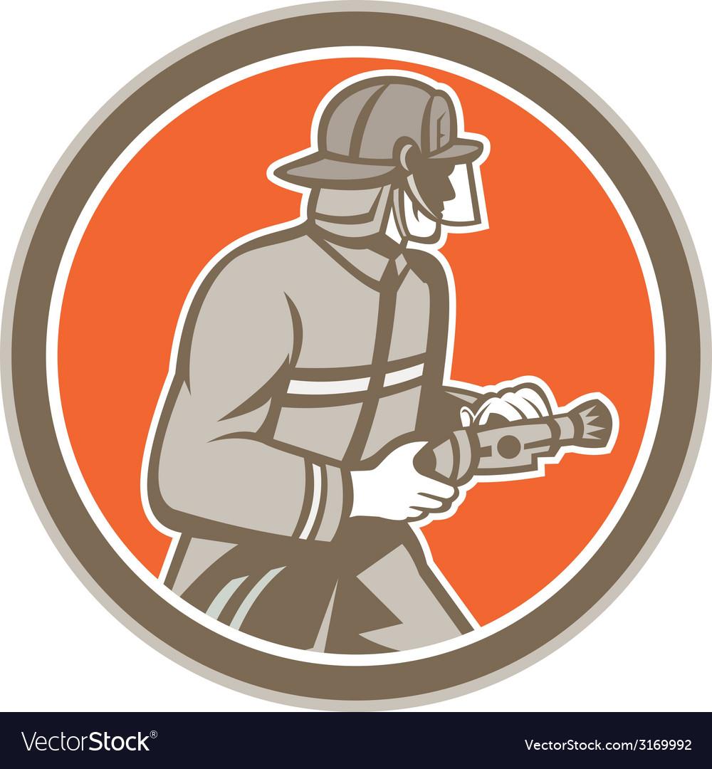 Fireman firefighter fire hose circle retro vector