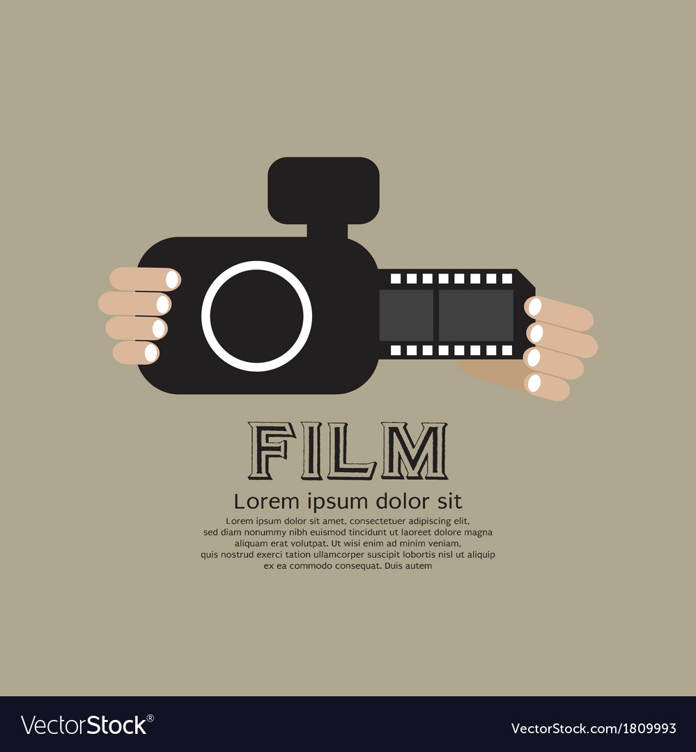 Vintage camera with film strip vector