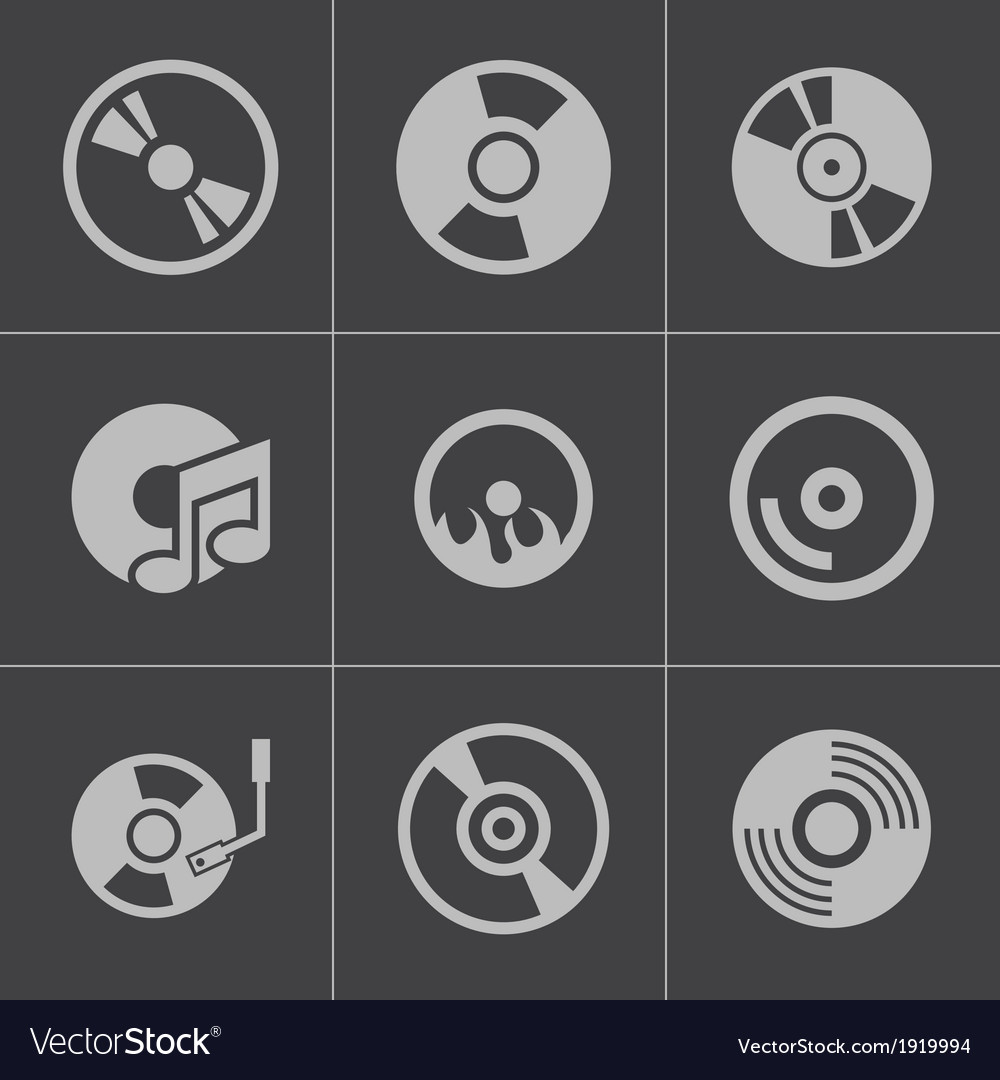 Black cd disk icons set vector