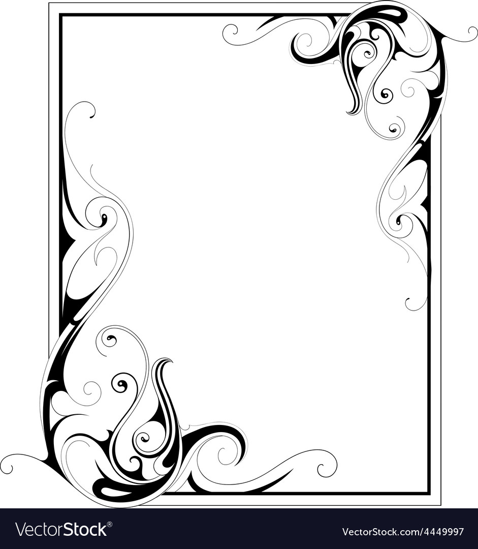Calligraphic retro frame vector