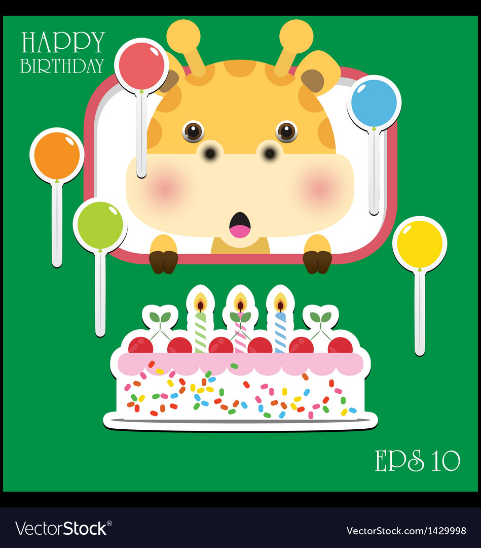 Happy birthday card with fun giraffe vector