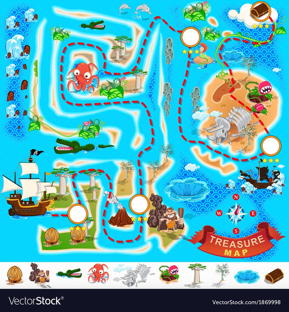 Pirate treasure map labyrinth vector