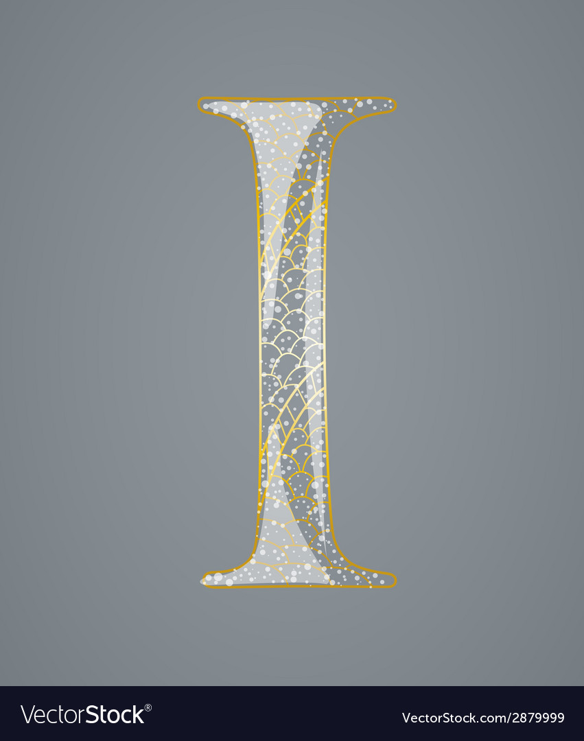Abstract golden letter i vector