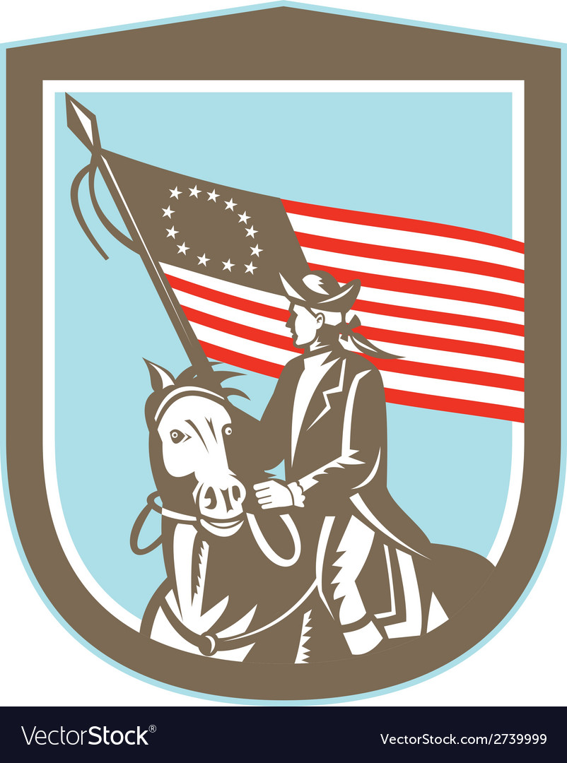 American revolutionary serviceman horse flag retro vector