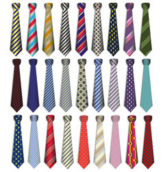 A set of male business ties on a white background vector