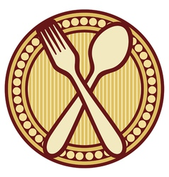 Crossed fork and spoon design vector