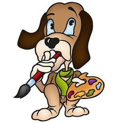 Dog painter vector