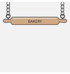 Wooden rolling pin plunger hanging on chain vector