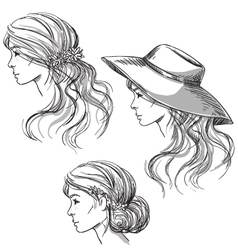 Girl with different hairstyles vector