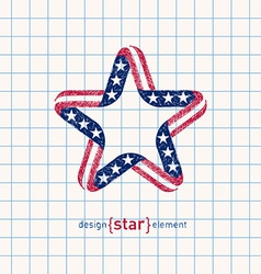 Hand draw star with american flag colors and vector