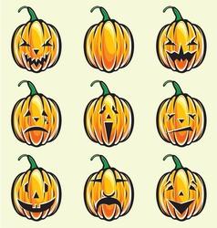Holiday pumpkin jack lantern collection vector