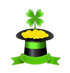 Hat clover and golden coins vector