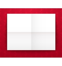 Empty old sheet of paper folded in fourfold on red vector