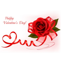 Red rose with gift red ribbons vector