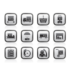 Cargo and shipping icons vector