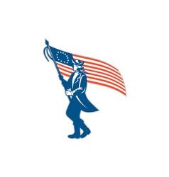 American patriot soldier waving usa flag circle vector