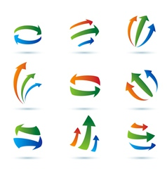 Abstract arrows icons collection vector