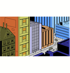 Retro comics city street scene vector