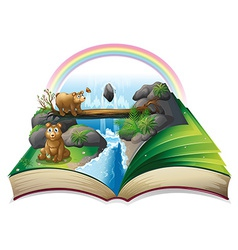 Waterfall book vector