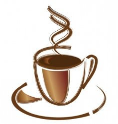 Black coffee in white cup vector