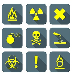 Bright yellow color flat style hazardous waste vector