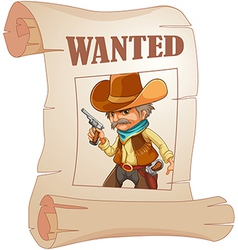 A paper with a print of a wanted cowboy vector