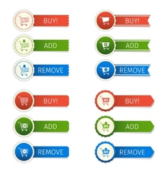 Shopping cart stickers set vector