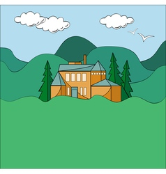 House in mountains vector