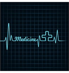 Heartbeat make medicine word and plus symbol vector