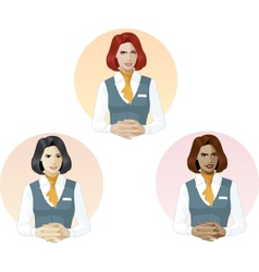 Woman in air hostess uniform support expert vector