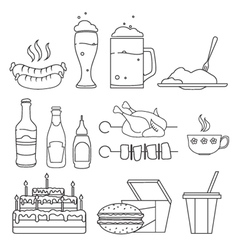 Food and drinks sketches vector