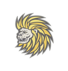 Lion head with flowing mane retro vector