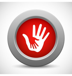 Caring hands red button vector