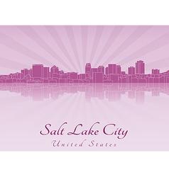 Salt lake city skyline in purple radiant orchid vector