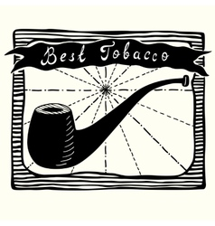 Tobacco pipe label vector