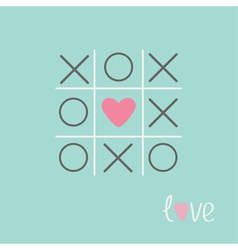 Tic tac toe game with cross and heart sign love vector