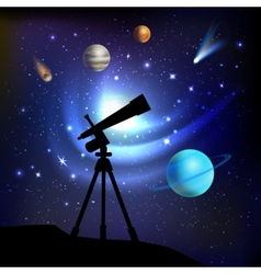 Space background with telescope vector